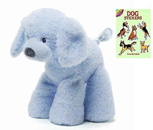 Gund Blue Fluffy Medium Dog Plush Animal with Dog Sticker Book, 10