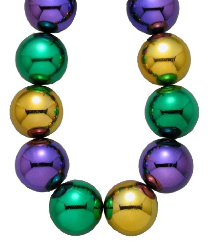 [Forum Mardi Gras Parade 48-inch Bead Necklace 100mm Super Large Balls, Multi-Colored, One Size] (Jumbo Mardi Gras Beads)