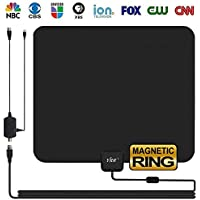 HD TV Antenna Indoor, YRH Updated 2018 Newest Digital 4K/1080P HDTV Antennas with Magnetic Ring to Lock Signal and Amplifier Booster for Smart TV, Free View More High-Definition Channels (Black)