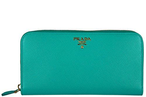 Prada women's wallet leather coin case holder purse card bifold saffiano metal b
