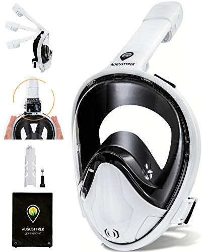 AugustTrek ONE80 GoPro Compatible Snorkel Mask - Full Face Design, Upgraded Scuba Mask w/Foldable Tube and Wide 180° Lens, Largest in Market. Breathe Comfortably w/Enhanced Easy Breathing Technology.