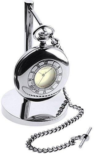 Chrome Half Hunter Pocket Watch Clock Set - on Stand - Leather Case Albert Chain