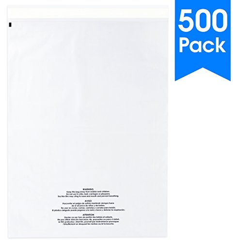 500 Count - 14 X 20 Self Seal 1.5 Mil Clear Plastic Poly Bags with Suffocation Warning - Permanent Adhesive by Spartan Industrial (More Sizes Available)