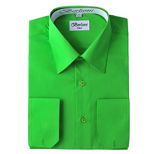 Berlioni Italy Men's Convertible Cuff Solid Dress Shirt Apple Green-3XL (19-19½) Sleeve - French Buttons Cuff