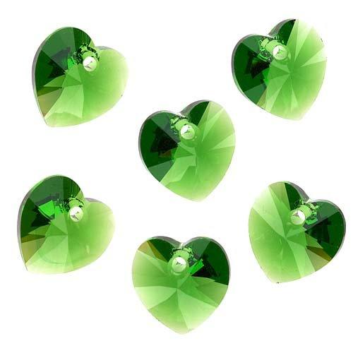6 Swarovski Crystal Heart (Swarovski Crystal, #6228 Heart Pendants 10mm, 6 Pieces, Fern Green)