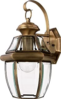 quoizel ny8316a newbury 1 light outdoor wall lantern with antique brass finish antique courtyard outdoor lighting 1