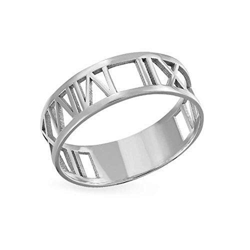 Personalize Jewelry (FUJIN Personalized 925 Sterling Silver 18K Gold Plated Ring Romantic Gifts Custom with Any Roman Numerals (Silver))