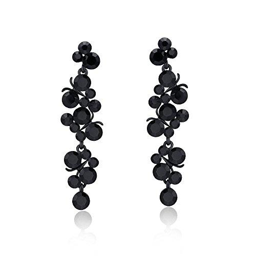 Sinlifu European Women Fashion black Gold Plated Luxury Crystal Grapes Long Drop Earrings by Sinlifu