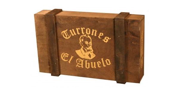 Lote de Turrones artesanos en Caja de Madera Oscura, El Abuelo. 2KG - Pack de Turrón (4 x 300 G, 1 x 500 G, 2 x 150 G) - Formado por: Turrón