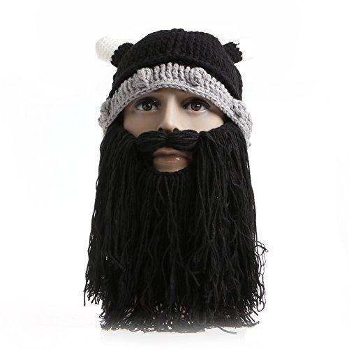 [Delight eShop Unisex Adults Braided Viking Beard Beanie Knit Hat Winter Face Mask Hats Warm (Black)] (Pj Masks Owlette Halloween Costume)
