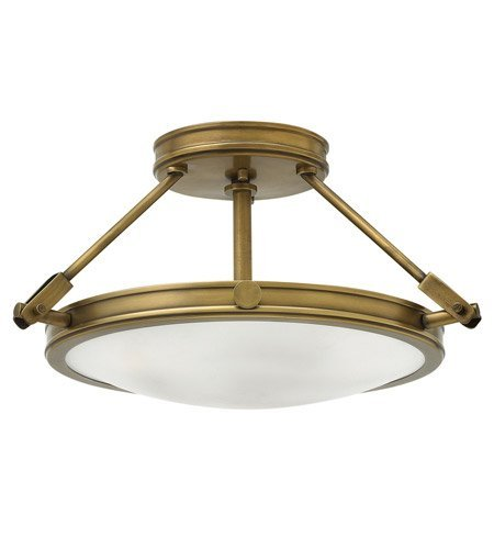 Hinkley 3381HB Restoration Three Light Semi-Flush Mount from Collier collection in Brassfinish, ()