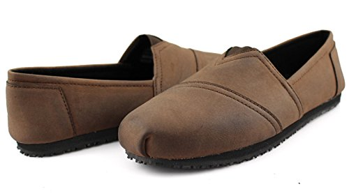 Non Slip Townforst Slip Brown Shoes Oil PU On Slip Work Resistant Leather and Jess Women's Flat rYYqUXR