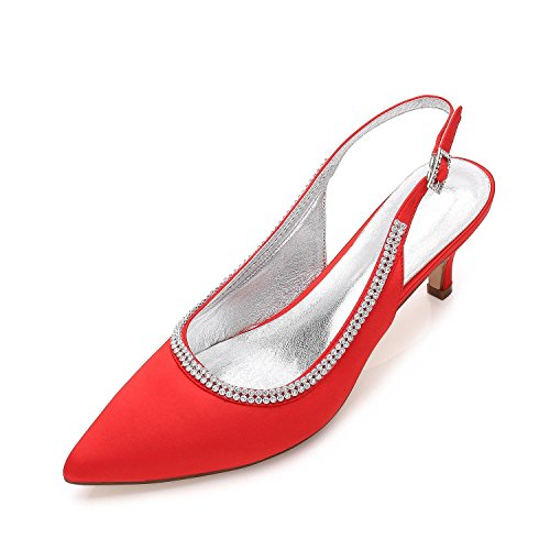 Low 9 L Plataforma Red yc Para Mid Zapatos Heel De Trabajo Mujer Rhinestone Court La Formal D99634 Size Ocultos Pumps Boda Shoes Ladies qq8rTPx