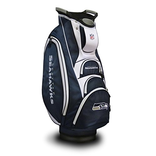 (Team Golf NFL Seattle Seahawks Victory Golf Cart Bag, 10-way Top with Integrated Dual Handle & External Putter Well, Cooler Pocket, Padded Strap, Umbrella Holder & Removable Rain Hood)