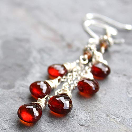 Gemstone Rust (Long Dangly Spessartite Garnet Earrings Sterling Silver Cascade Rust Red Gemstones)