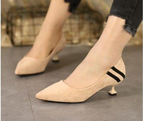 Xue Einzelne Qiqi Court Schuhe Einzelne Xue schuhe Buchse, 5 cm, mit dem eleganten Spitze satin Nähen, fein mit der high-heel Schuhe Beige 190201