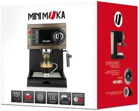 Mini Moka CM 1622 Cafetera espresso manual, apta para monodosis, color negrogris