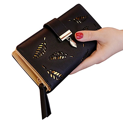 Bifold Black Leather Hollowed Multipockets Wallet Purse Women Clutch ShiningLove Leaf Long vE8pw8UqH