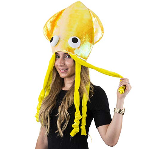 Yellow Hat - Yellow Squid Hat, Octopus Hat, Funny Hats - Sea Animal Hats by Funny Party Hats -