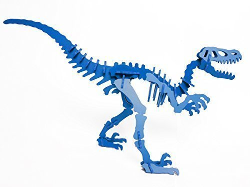 32 Square 3D Velociraptor Dinosaur Puzzle in Blau PVC By Boneyard Pets