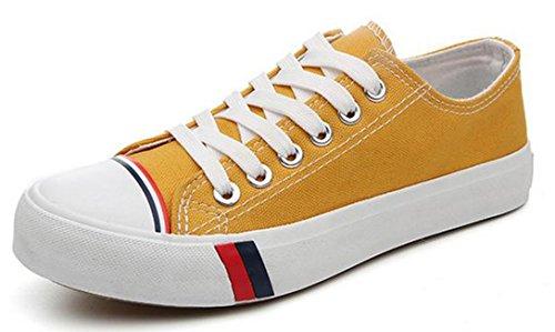 Ein bißchen Damen Studenten zuckerfarbe Sneaker Low Top Schuhe Canvas Textil Gelb