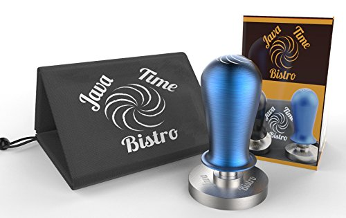 58mm Calibrated Barista Coffee and Espresso Tamper Blue with Bonus Storage Bag - Java Time (Polished Sled Base)