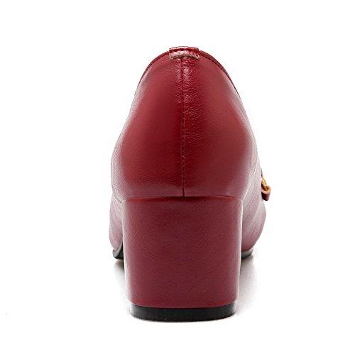 AllhqFashion Mujer Tacón Medio Tachonado Sin cordones Material Suave De salón Rojo