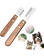 Pet Hair Removal Comb for Dogs Grooming Coat Stripping Knife for Dogs & Pets, Pluck Excess Undercoat Accessories Wooden Handle Grip and Stainless Steel Blade for Trim And Comb The Matted Or Knotted Undercoat Knots & Tangles