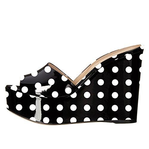 on Toe Slip Mules Heels Polka Peep YDN Sandals Dots Clogs Shoes Wedge Women Slide Platform High cwYqc6z48