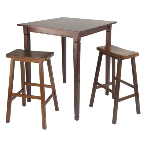 Winsome Kingsgate 3-Piece High/Pub Dining Table with Saddle Stool (Tables For Antique Pub Sale)