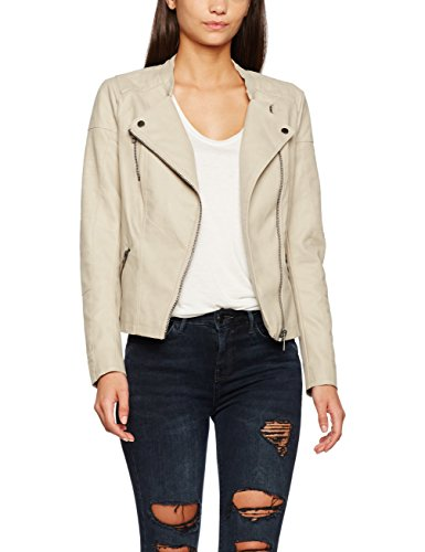 Only onlAVA FAUX LEATHER BIKER OTW NOOS - Chaqueta  para mujer Beige (Pure Cashmere Pure Cashmere)