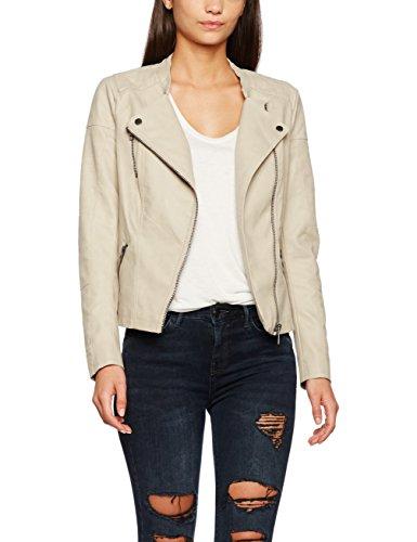 Only Onlava Faux Leather Biker OTW Noos, Blouson Femme Beige (Pure Cashmere Pure Cashmere)
