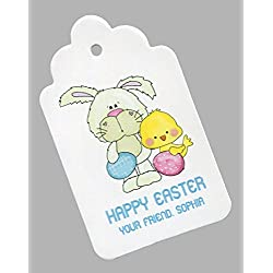 Personalized easter gift tags lets personalize that easter gift tags bunny with eggs and chick personalized set of 25 negle Image collections