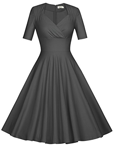 MUXXN Women's Vintage 1950s Empire Waist Wear to Work Midi Dress (XL Gray)