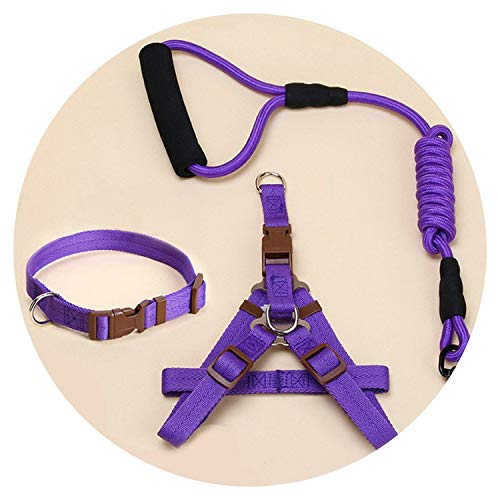 (shine-hearty Dog Harness Leash Leads Dog-Collar Pet Accessories Puppy Vest Dog Harness Leash for,Purple Set,L)