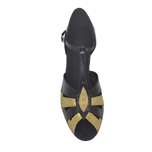 Jig Foo Sandalen offene Latin Salsa Tango Ballroom Dance Schuhe für Frauen mit 5,6cm Ferse