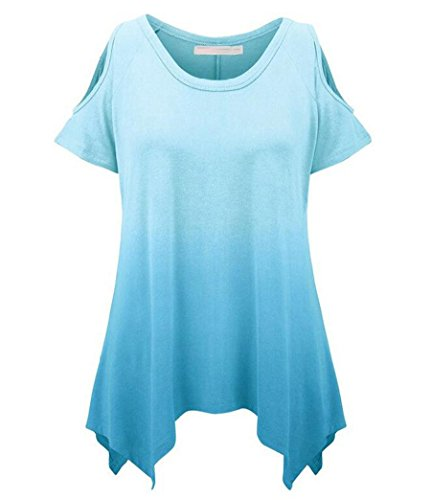 NiSeng Mujeres Gradiente de color Casual Hem Irregular Túnica Manga Corta Mujer Estampados Slim T-Shirt Tops Blouse Camiseta Off The Shoulder Azul