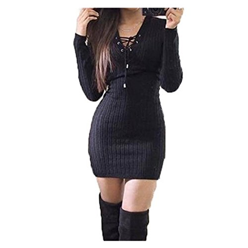 Anxinke Women Solid Long Sleeve Lace up V Neck Casual Bodycon Sweaters Mini Dress (Black, ()