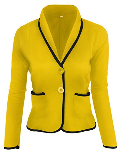 Arctic Cubic Fashion Long Sleeve Button Front Colorblock Contrast Piping Trim Cotton Blazer Coat Jacket Top Yellow M