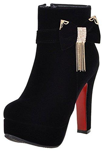 Women's Round Toe Platform Shoes Fashion Party High Heels Black - 5