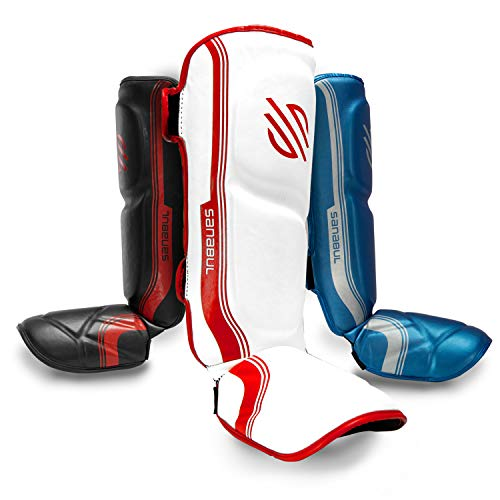 Sanabul Core Advanced Series Hook and Loop Strap Kickboxing Muay Thai MMA Shin Guards (White/RED, L/XL)