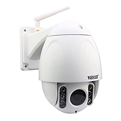 Wanscam Metal PTZ IP Dome Camera Outdoor Full HD 1080P(1920x1080), Pan/Tilt, Wireless/Wired, Plug/Play Wifi Webcam with 5x Optical Zoom, Clear Night Vision(80 Meters)