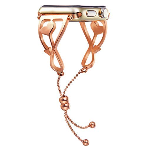 LXDYXS Apple Watch Band, 2018 Newest Released Unique Fancy Crafted Iwatch Strap in Jewelry Classic Style for Women Girls Feminine with Pendant and Tassel (Rose Gold-38mm)
