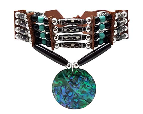 Traditional 4 Row Carved Buffalo Bone Hairpipe Beads Tribal Choker Necklace with Abalone Pendant