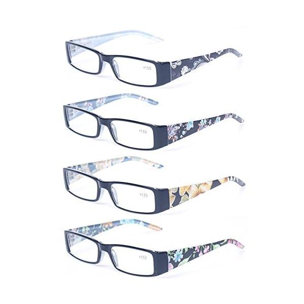 Kerecsen 4 Pack Fashion Women Reading Glasses Spring Hinge With Flower Print Readers