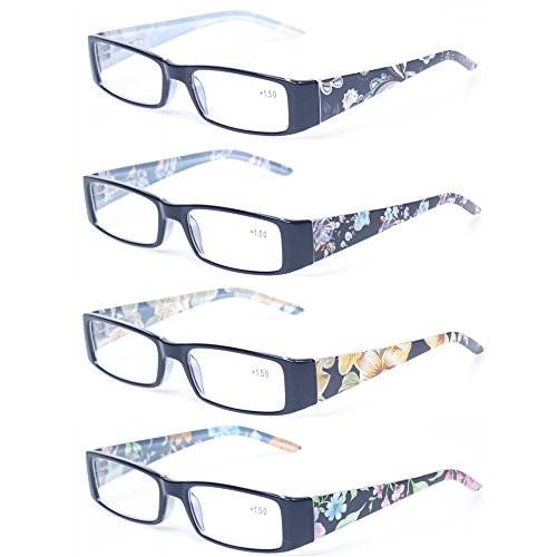 Kerecsen 4 Pack Fashion Women Reading Glasses Spring Hinge With Flower Print Ladies'Readers (4 Pack Mix Color, - Flower Frames Glasses