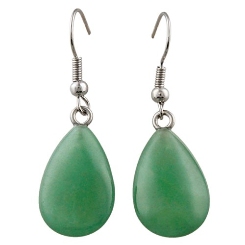 SUNYIK Green Aventurine Pear-Shape Dangle Earrings for (Green Pear Earrings)