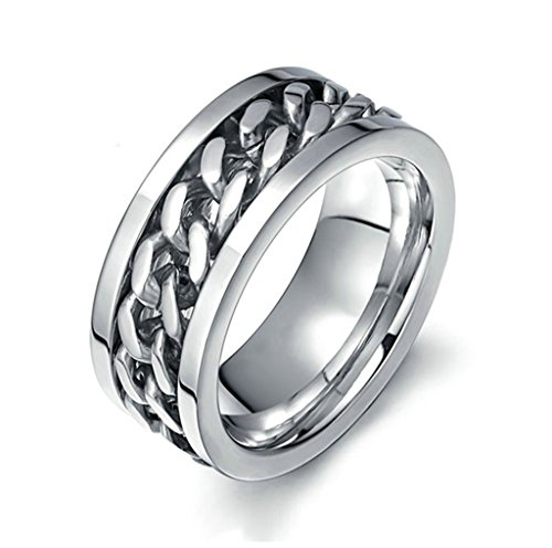 MoAndy Anniversary Ring Stainless Steel Ring Men Wedding Ring Size 8