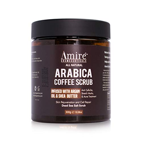 Arabica Coffee Exfoliating Body Scrub | Infused with Argan Oil & Shea Butter | Best Acne, Anti Cellulite and Stretch Mark Treatment, Helps Reduce Spider Veins, Eczema, Age Spots - 300g