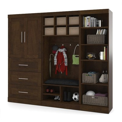 Bestar Furniture 26855-69 Pur 97'' Mudroom Kit with Simple Pulls and Three Adjustable Shelves in